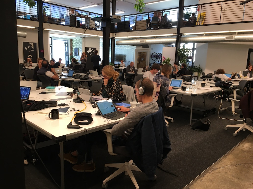 Founders working on their startups in an Incubator